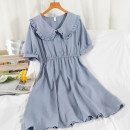 Dress Summer 2021 Average size Mid length dress singleton  Short sleeve commute Doll Collar High waist Solid color Socket A-line skirt routine Others 18-24 years old Type A Korean version 51% (inclusive) - 70% (inclusive) other