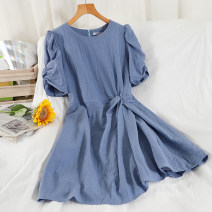 Dress Summer 2021 Black, white, blue, apricot Average size Short skirt singleton  Short sleeve commute Crew neck High waist Solid color zipper A-line skirt routine Others 18-24 years old Type A Korean version 51% (inclusive) - 70% (inclusive) other other