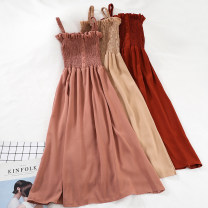 Dress Spring of 2019 Red, black, skin pink, rust red, khaki, caramel, pink Average size Mid length dress singleton  Sleeveless commute One word collar High waist Solid color Socket A-line skirt other camisole 18-24 years old Type A Other / other Korean version 51% (inclusive) - 70% (inclusive) other