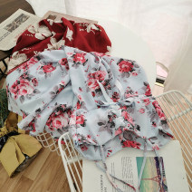 Dress Summer 2020 Blue, red, white, Tibetan blue, white flower on black background, red flower on black background S,M,L Short skirt singleton  Sleeveless commute square neck High waist Decor Socket other other camisole 18-24 years old Type A Korean version 51% (inclusive) - 70% (inclusive) Chiffon