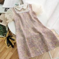 Dress Summer 2020 Blue, pink M, L Short skirt singleton  Short sleeve commute Doll Collar High waist Socket A-line skirt puff sleeve Others 18-24 years old Type A Korean version 51% (inclusive) - 70% (inclusive)