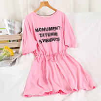 Dress Summer 2021 black , white , blue , Rose powder Average size Mid length dress singleton  Short sleeve commute Crew neck High waist letter Socket A-line skirt routine Others 18-24 years old Type A Korean version 51% (inclusive) - 70% (inclusive) other cotton