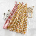 Dress Summer of 2019 Blue, apricot, green, yellow, red, black, pink Average size Mid length dress singleton  Sleeveless commute square neck High waist lattice Socket Big swing other Others 18-24 years old Type A Other / other Korean version H884 51% (inclusive) - 70% (inclusive) other