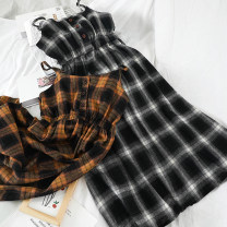 Dress Winter of 2019 Yellow, red, black Average size Mid length dress singleton  Sleeveless commute V-neck High waist lattice Socket Big swing other camisole 18-24 years old Type A Other / other Korean version 51% (inclusive) - 70% (inclusive)