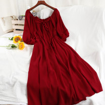 Dress Winter 2020 Average size longuette singleton  three quarter sleeve commute Crew neck High waist Solid color Socket A-line skirt bishop sleeve 18-24 years old Type A Korean version Frenulum 51% (inclusive) - 70% (inclusive) Chiffon other
