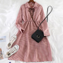 Dress Autumn of 2019 Blue, gray, yellow, black, pink Average size Mid length dress singleton  Long sleeves commute Polo collar High waist lattice Socket A-line skirt other Others 18-24 years old Type A Other / other Korean version 51% (inclusive) - 70% (inclusive)