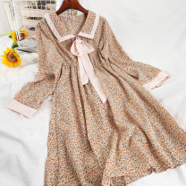 Dress Winter 2020 4 gray, 4 yellow, 4 red, 2 apricot, 2 blue, 2 black, 2 pink Average size longuette singleton  Long sleeves commute Doll Collar High waist Broken flowers Socket A-line skirt routine 18-24 years old Type A Korean version printing 51% (inclusive) - 70% (inclusive) Chiffon