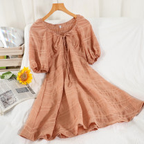 Dress Summer 2021 Black, white, blue, orange Average size Short skirt singleton  Short sleeve commute Crew neck High waist Solid color Socket A-line skirt raglan sleeve Others 18-24 years old Type A Korean version Button 51% (inclusive) - 70% (inclusive) other