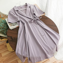 Dress Summer 2020 Black, purple, green Average size Short skirt singleton  Short sleeve commute tailored collar High waist Solid color other A-line skirt routine Others 18-24 years old Type A Korean version 51% (inclusive) - 70% (inclusive) Chiffon