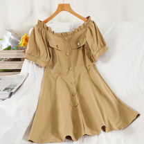 Dress Summer 2021 Black, blue, khaki S,M,L Short skirt singleton  Short sleeve commute One word collar High waist Solid color Socket other puff sleeve Others 18-24 years old Type A Korean version Button 51% (inclusive) - 70% (inclusive) other other