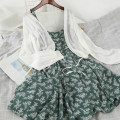 Dress Summer 2020 Black, green Average size Mid length dress Two piece set Long sleeves commute Crew neck High waist Broken flowers Socket A-line skirt routine camisole 18-24 years old Type A Other / other Korean version 51% (inclusive) - 70% (inclusive) Chiffon other