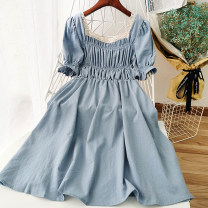 Dress Summer 2020 Yellow, purple, blue, green, red, black, orange Average size Mid length dress singleton  Short sleeve commute square neck High waist Solid color Socket Big swing other Others 18-24 years old Type A Korean version 51% (inclusive) - 70% (inclusive)