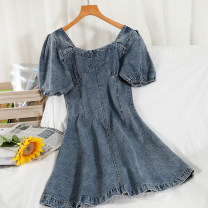 Dress Summer 2021 blue M, L Short skirt singleton  Long sleeves commute square neck High waist Solid color zipper A-line skirt puff sleeve Others 18-24 years old Type A Korean version Button 51% (inclusive) - 70% (inclusive) Denim other