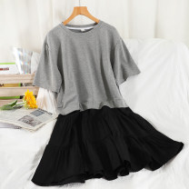 Dress Summer 2021 Black, gray Average size Mid length dress singleton  Short sleeve commute Crew neck High waist Solid color Socket A-line skirt routine 18-24 years old Type A Korean version Splicing 51% (inclusive) - 70% (inclusive) other cotton