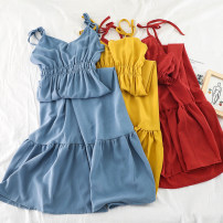 Dress Summer of 2019 Black, apricot, blue, yellow, red, pink, brick red, dark blue Average size Mid length dress singleton  Sleeveless commute V-neck High waist Solid color Socket Big swing other straps 18-24 years old Type A Other / other Korean version 51% (inclusive) - 70% (inclusive) Chiffon