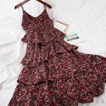 Dress Summer 2020 Apricot, purple, black Average size Short skirt singleton  Sleeveless commute V-neck High waist Decor Socket Cake skirt other camisole 18-24 years old Type A Other / other Korean version 51% (inclusive) - 70% (inclusive) Chiffon