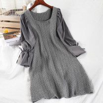 Dress Winter 2020 Black, gray Average size Short skirt singleton  Long sleeves commute Crew neck High waist Solid color Socket A-line skirt routine 18-24 years old Type A Korean version 51% (inclusive) - 70% (inclusive) knitting acrylic fibres