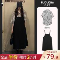 Women's large puff sleeve Pleated skirt Spring 2021 Sweet Two piece set skirt longuette 8-5X3576-B-3 Short sleeve V-neck moderate easy Condom 18-24 years old Other / other routine Big XL, big XXL, big XXXXL, big XXXXL, big one size, big L [available from stock] black strap skirt with floral lining