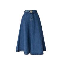 skirt Spring 2021 S,M,L,XL Dark blue skirt, light blue skirt longuette commute High waist A-line skirt Solid color Type A 18-24 years old 931# Denim cotton pocket