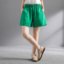 Casual pants White, green, red, black Average size Summer of 2019 shorts Flared trousers Natural waist commute 96% and above yy288 cotton Korean version cotton