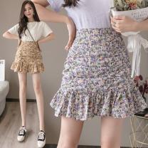 skirt Summer 2021 S,M,L,XL Yellow, purple, green, pink Short skirt Versatile Natural waist A-line skirt Decor Type A 25-29 years old 91% (inclusive) - 95% (inclusive) Chiffon polyester fiber Pleats, zippers, prints