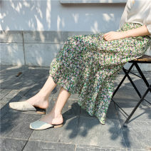 skirt Summer 2021 S,M,L,XL,2XL Fresh green, fresh yellow Mid length dress commute High waist Ruffle Skirt Broken flowers Type A 18-24 years old 30% and below Chiffon printing Korean version