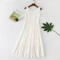 Dress Autumn of 2019 White, black Average size Mid length dress singleton  Sleeveless commute Crew neck High waist Solid color Socket Big swing other straps Type A Korean version More than 95% Lace modal