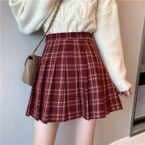 skirt Winter 2020 M,L,XL,2XL,3XL,4XL claret Short skirt commute High waist Pleated skirt lattice Type A 18-24 years old 31% (inclusive) - 50% (inclusive) other Pleated, three-dimensional decoration Korean version 141g / m ^ 2 (including) - 160g / m ^ 2 (including)