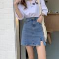 skirt Spring 2021 M,L,XL,2XL,3XL,4XL blue Short skirt commute High waist Denim skirt Solid color Type A 18-24 years old 51% (inclusive) - 70% (inclusive) Denim Pocket, tridimensional decoration, split Korean version