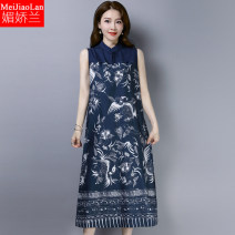 Women's large Summer of 2019 Picture color M L XL XXL Dress singleton  commute easy moderate Socket Sleeveless Thousand bird grid flower ethnic style stand collar routine M61088 Melanie Three dimensional decoration Medium length Other 100% Pure e-commerce (online only)