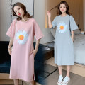 Dress Gu Mengyu Grey, pink M,L,XL,XXL Korean version Short sleeve have more cash than can be accounted for summer Crew neck Decor Pure cotton (95% and above)
