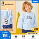 T-shirt Ben white ice crystal blue Hush Puppies / Hush Puppies 90cm 100cm 110cm 120cm 130cm male spring and autumn Long sleeves Crew neck leisure time There are models in the real shooting nothing cotton Cartoon animation Cotton 100% HPPCBX49CT551 Class A Spring 2021 Chinese Mainland
