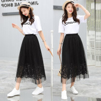 skirt Spring of 2018 80cm 75cm 65cm Black and white Mid length dress Natural waist Type A More than 95% Lace Shang Yu polyester fiber Polyester 100%