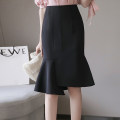 skirt Summer of 2019 S M L XL Black blue Middle-skirt sexy High waist skirt Solid color GZ-6292# Water Heron Pure e-commerce (online only)