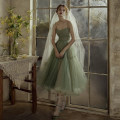 Wedding dress Summer of 2019 A dress for women S. M, l, XL, one size fits all Simplicity Bandage Sling type Gridding yarn Crumple A183 Other / other