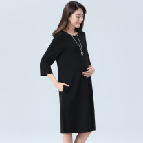 Dress Other / other Black short sleeves (summer thin), black quarter sleeves (spring summer), black long sleeves (spring summer) Other sizes Korean version three quarter sleeve Medium length summer Crew neck Solid color Pure cotton (95% and above)