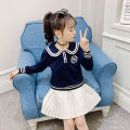 suit Other / other Navy blue, white 110cm,120cm,130cm,140cm,150cm,160cm female spring and autumn Korean version Long sleeve + skirt 2 pieces routine There are models in the real shooting Socket nothing Solid color cotton children Expression of love Class B
