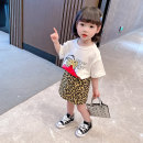 suit Bullet baby 80cm 90cm 100cm 110cm 120cm 130cm female summer Korean version Short sleeve + skirt 2 pieces Thin money There are models in the real shooting Socket nothing Leopard Print children Expression of love Summer 2021 12 months 9 months 18 months 2 years 3 years 4 years 5 years 6 years old