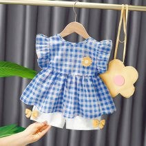 suit Bullet baby Blue Daisy Plaid Top + white shorts Pink Daisy Plaid Top + white shorts 73cm 80cm 90cm 100cm 110cm female summer Korean version Sleeveless + pants 2 pieces Thin money No model Socket nothing lattice Cotton blended fabric children Expression of love DWBB1663 Polyester 100% Summer 2021