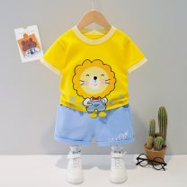 suit Bullet baby male summer Korean version Short sleeve + pants 2 pieces Thin money No model Condom nothing Cartoon animation Cotton blended fabric children Expression of love DWBB2070 Polyester 100% Summer 2021 6 months 12 months 9 months 18 months 2 years 3 years 4 years 5 years old
