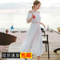 Dress Summer of 2018 White with lining S. M, l, XL, XXXs pre-sale longuette singleton  Short sleeve Sweet One word collar High waist Solid color Socket A-line skirt puff sleeve Others Type A Other / other Gouhua hollow 31% (inclusive) - 50% (inclusive) other cotton Bohemia