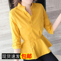 shirt White, yellow, doghead S,M,L,XL,2XL,3XL Autumn of 2018 Cashmere 31% (inclusive) - 50% (inclusive) Long sleeves commute Regular V-neck Single row multi button Wrap sleeves Solid color 18-24 years old Self cultivation Other / other Korean version
