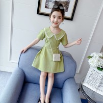 Dress Green (without bag) pink (without bag) green (with bag) pink (with bag) female Artemisia argyi 110cm 120cm 130cm 140cm 150cm 160cm Other 100% summer Korean version Short sleeve Solid color other A-line skirt Ff2323 little fresh LYQ Class B Summer 2021 Chinese Mainland