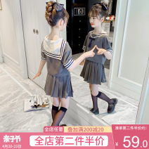 suit Artemisia argyi grey 120cm 130cm 140cm 150cm 160cm 170cm female summer college Short sleeve + skirt 2 pieces routine There are models in the real shooting Socket nothing Solid color other children Expression of love F1239 green ribbon suit Class B Other 100% Summer 2021 Chinese Mainland