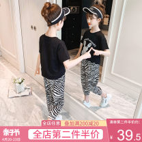 suit Artemisia argyi Black and white 120cm 130cm 140cm 150cm 160cm 170cm female summer leisure time Short sleeve + pants 2 pieces routine There are models in the real shooting Socket nothing Cartoon animation cotton children Expression of love F1173 rabbit TZ Class B Cotton 100% Summer 2021