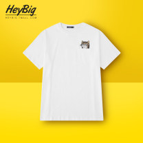 T-shirt Youth fashion White black light grey routine M L XL HEYBIG Short sleeve Crew neck easy Other leisure summer BF3969CY Cotton 100% teenagers routine Hip hop Summer of 2019