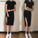 Dress Summer 2021 black S,M,L,XL,2XL,3XL Mid length dress singleton  Short sleeve commute Crew neck High waist Solid color Socket One pace skirt routine Others 25-29 years old Type H Other / other Korean version Asymmetry More than 95% knitting modal