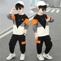 suit Kubitong Orange green light gray black blue 110cm 120cm 130cm 140cm 150cm 160cm male spring and autumn college Long sleeve + pants 2 pieces routine There are models in the real shooting Socket nothing letter cotton children Expression of love TZ-2161 Class B Spring 2021 Chinese Mainland