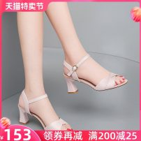 Sandals 34 35 36 37 38 39 40 41 5434 beige 5434 pink 5427 beige 5427 black PU Guciheaven / guchitianlun Fish mouth Thick heel High heel (5-8cm) Summer 2021 Flat buckle grace Solid color Adhesive shoes Youth (18-40 years old) TPU daily Front and rear trip strap Thick heel band Low Gang Hollow PU PU