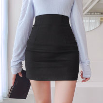 skirt Spring 2021 XS,S,M,L Black, white Short skirt commute High waist skirt Solid color Type O 18-24 years old 91% (inclusive) - 95% (inclusive) brocade cotton Zipper, stitching Korean version
